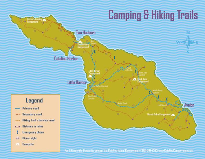 Catalina island map catalina island camping and hiking map catalina map sciox Gallery
